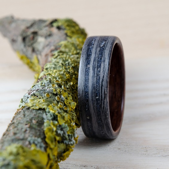 Nordwood Rings Dřevěný prstýnek GREY OAK, ROSEWOOD & BLUE GOLDSTONE NWR24