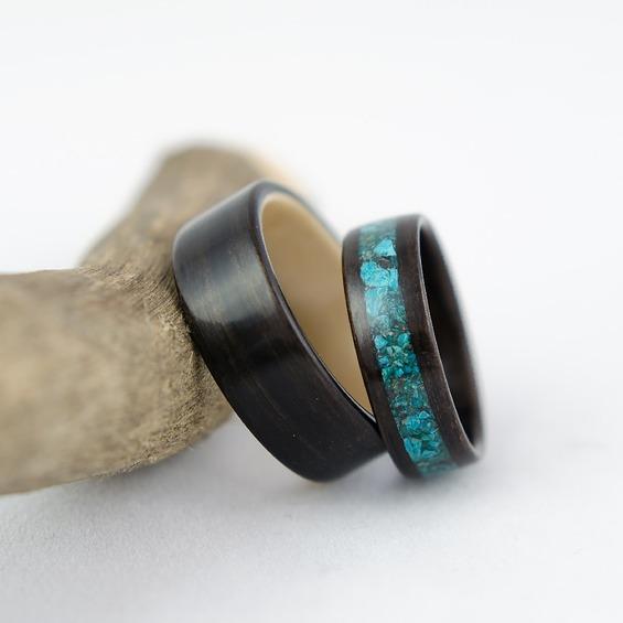 Nordwood Rings Snubní prstýnky EBONY & CHRISOCOLLA NWR270637 Gravírování: ANO