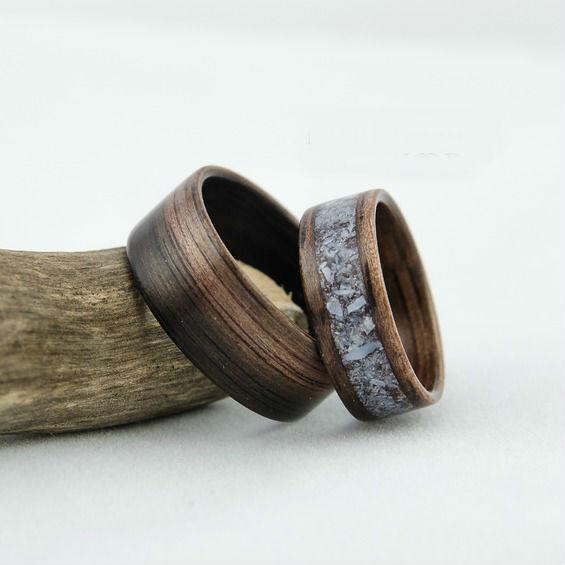 Nordwood Rings Snubní prstýnky EBONY MAKASSAR MOTHER OF PEARL NWR270641 Bez gravírování: NE