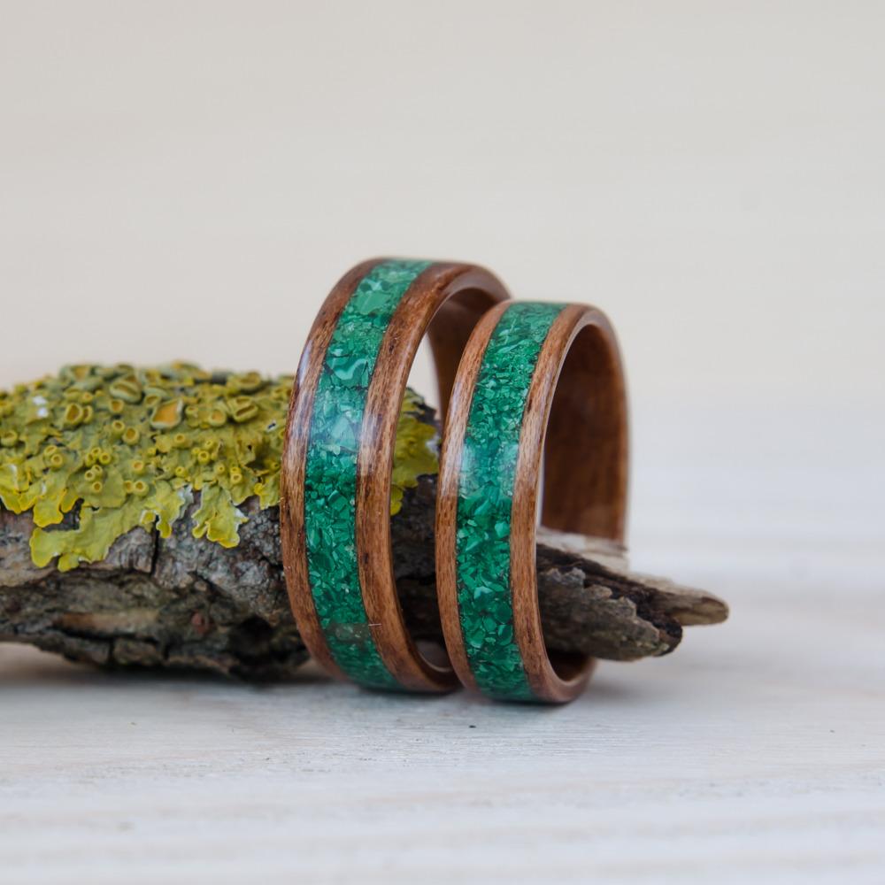 Nordwood Rings Snubní prstýnky MAHOGANY AND MALACHITE NWR270643 Gravírování: ANO