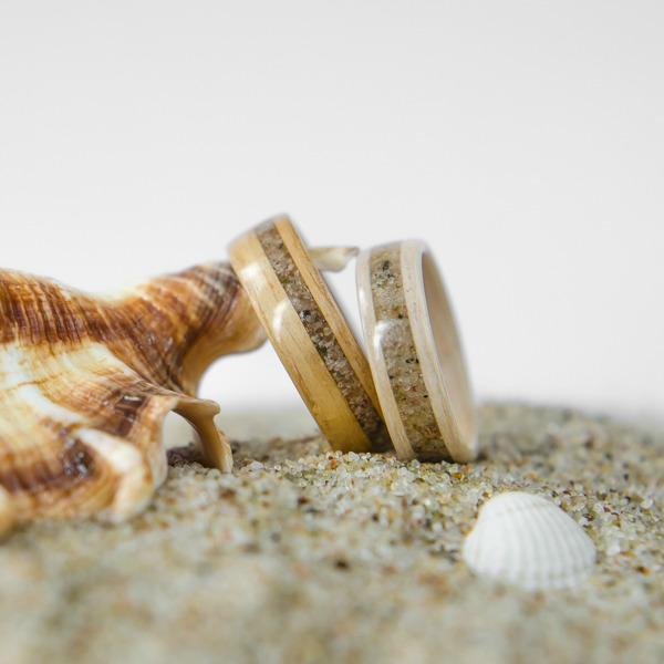 Nordwood Rings Snubní prstýnky ZEBRANO & WHITE OAK & SAND NWR270646 Gravírování: ANO