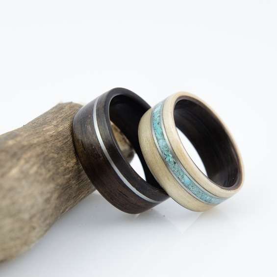 Nordwood Rings Snubní prstýnky EBONY, MAPLE, STEEL & TURQUOISE NWR38