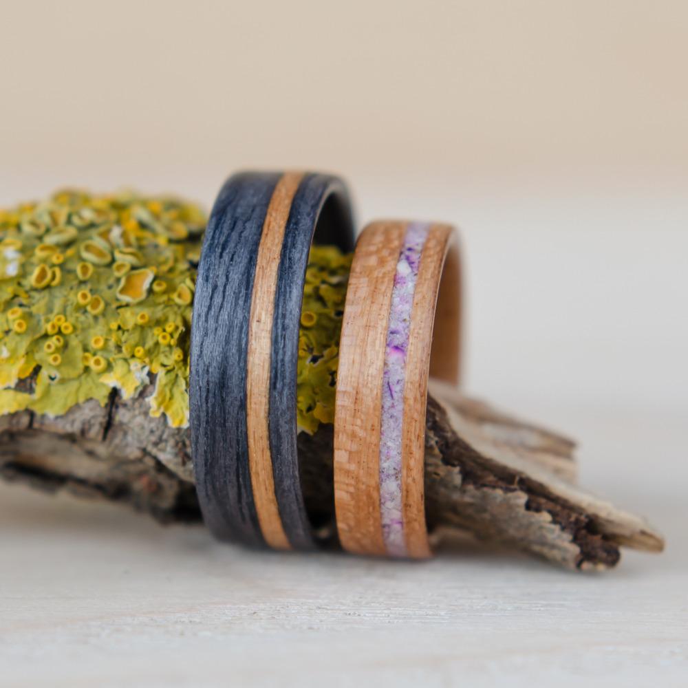 Nordwood Rings Snubní prstýnky GREY OAK CHERRY - MARBLE NWR1828/ANO Gravírování: ANO