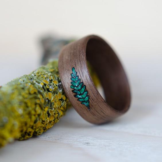 Nordwood Rings Dřevěný prstýnek FERN1