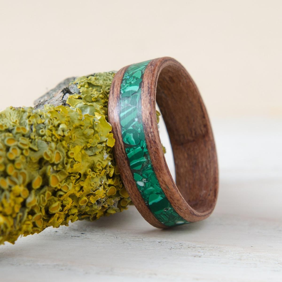 Nordwood Rings Dřevěný prstýnek MAHOGANY & MALACHITE NWR270652