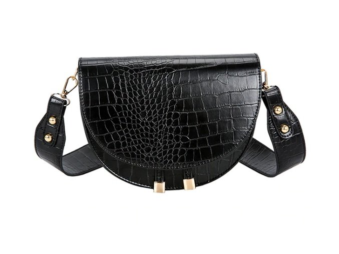 Černá crossbody kabelka s krokodýlím vzorem