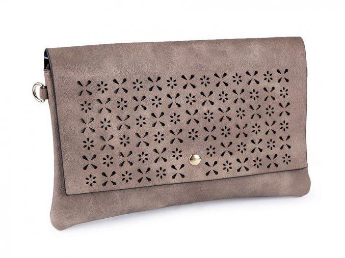 Tmavě béžová kabelka s vysekávaným vzorem