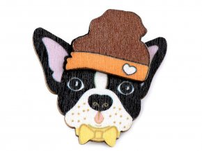 Dřevěná brož barevná Pes Woodies
