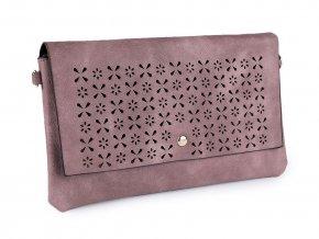 Starorůžová kabelka s vysekávaným vzorem