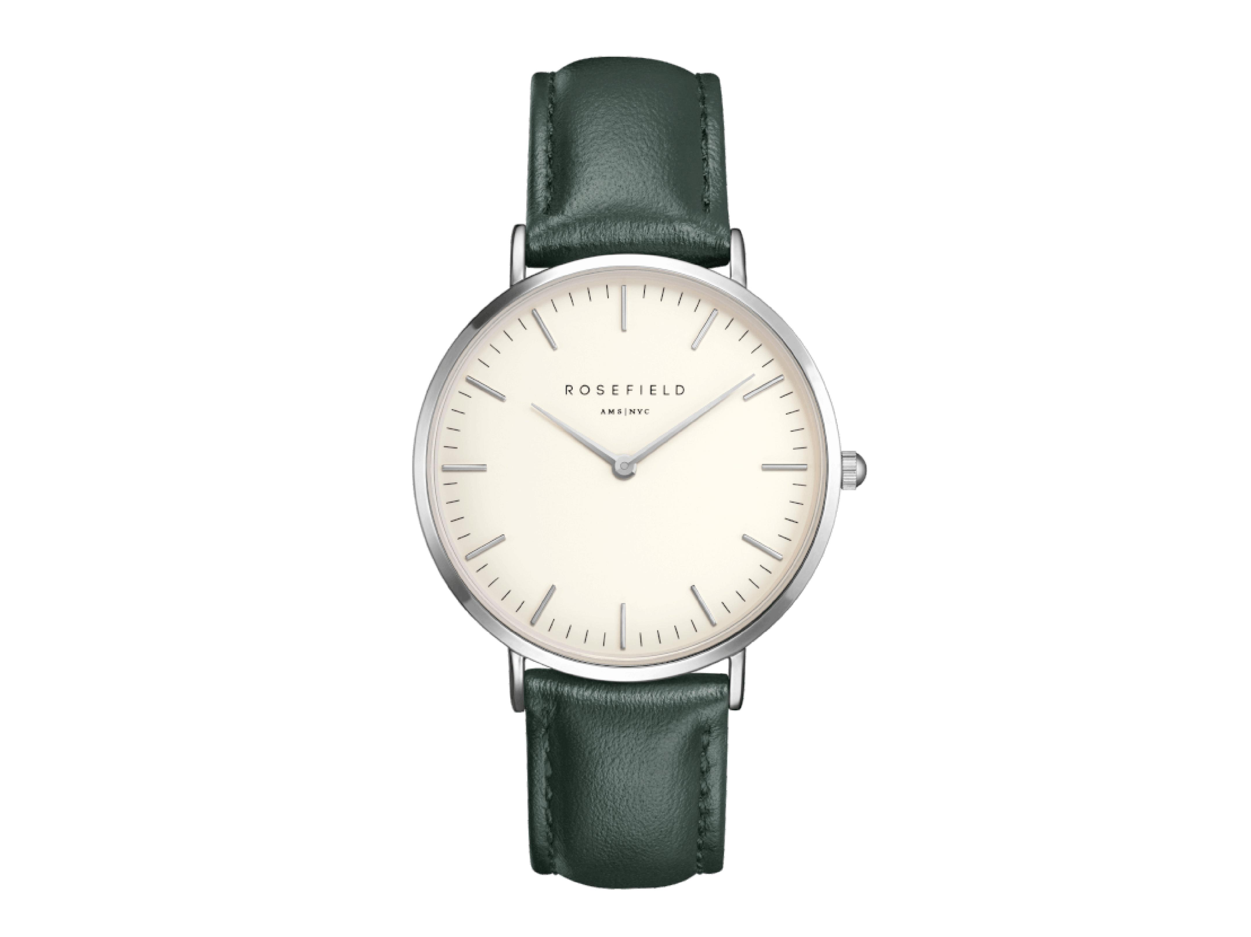 Rosefield Hodinky Bowery Silver White / Green