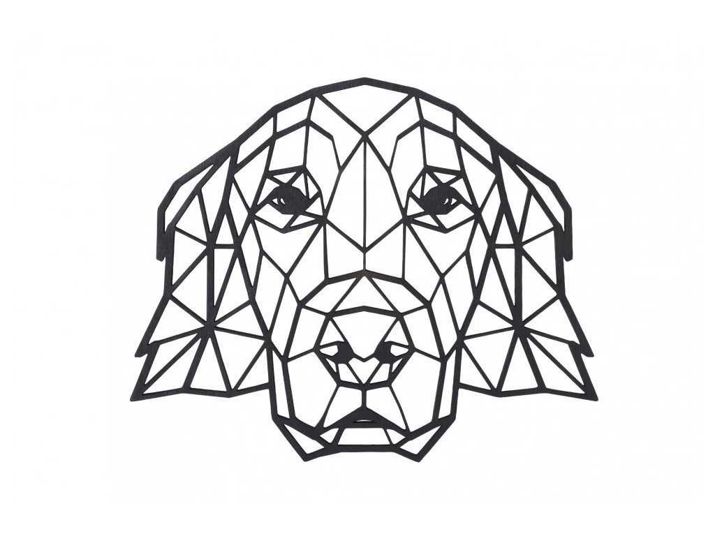 dreveny geometricky obraz zlaty retrivr 1000x665