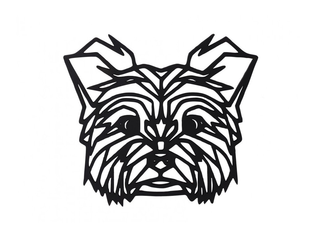 dreveny geometricky obraz jorksirsky terier 1000x665