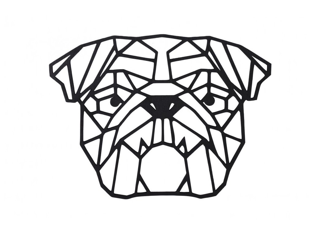 dreveny geometricky obraz anglicky buldok 1000x665