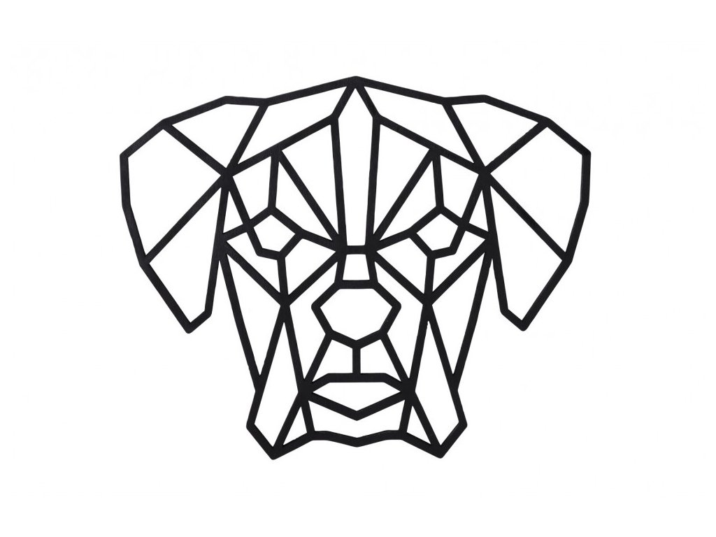 dreveny geometricky obraz nemecky boxer 1000x665