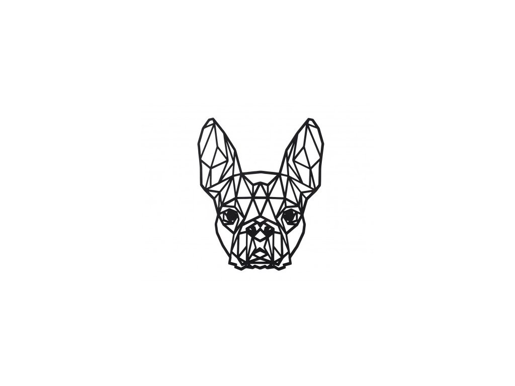 dreveny geometricky obraz bostonsky terier 462x388