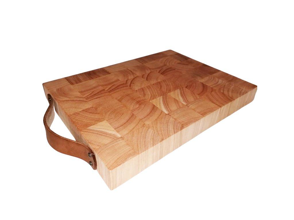 Krájecí a servírovací prkénko z kaučukového dřeva a kůže