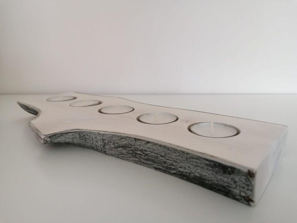 Svícen ořech bělený, černý vosk na 5 svíček - detail 1