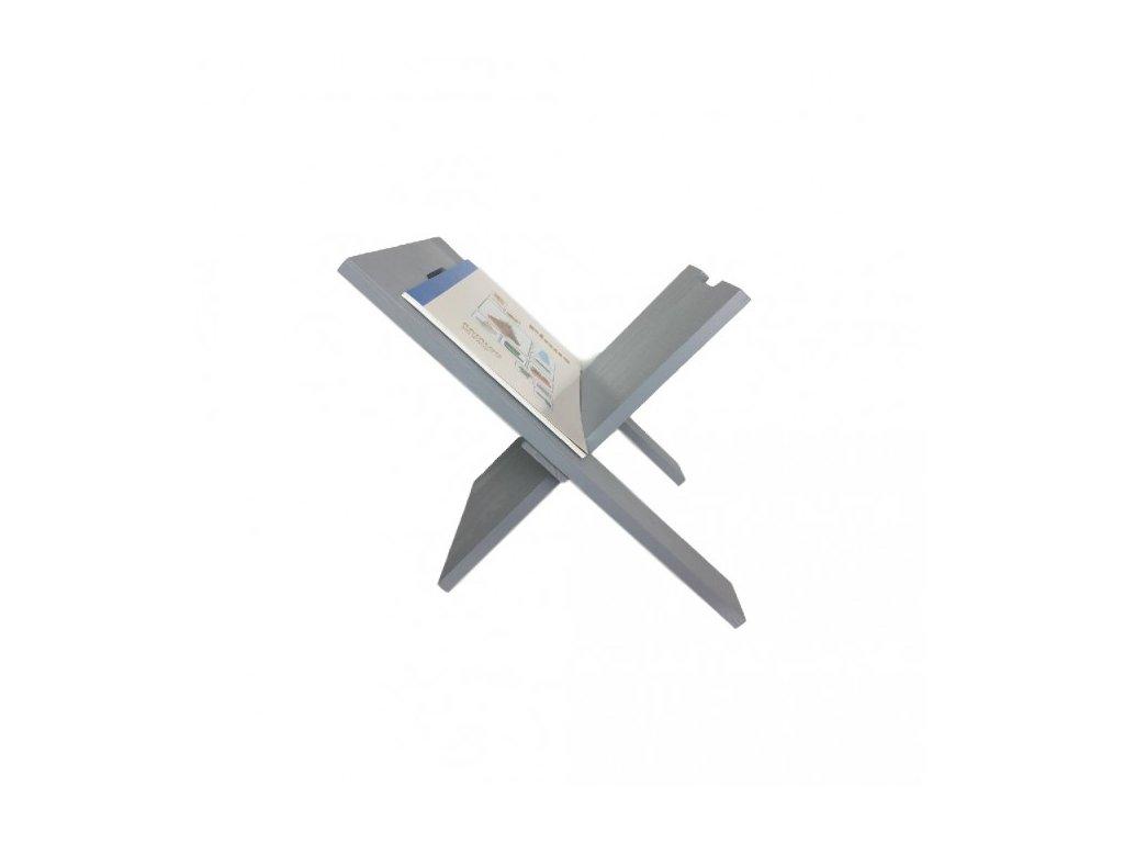 Dřevěný stojan na noviny šedý