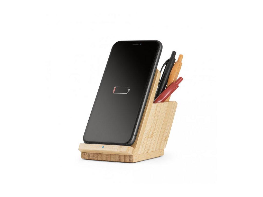 Dřevěný stojan s bezdrátovou nabíječkou