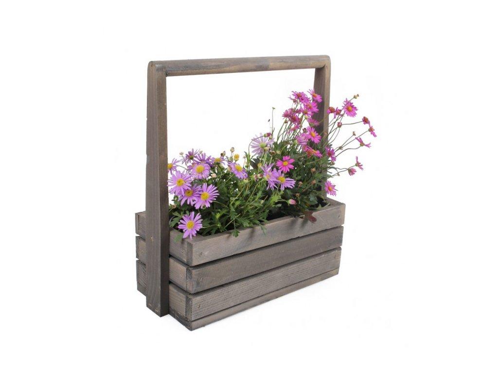 Velký dřevěný květináč s rukojetí
