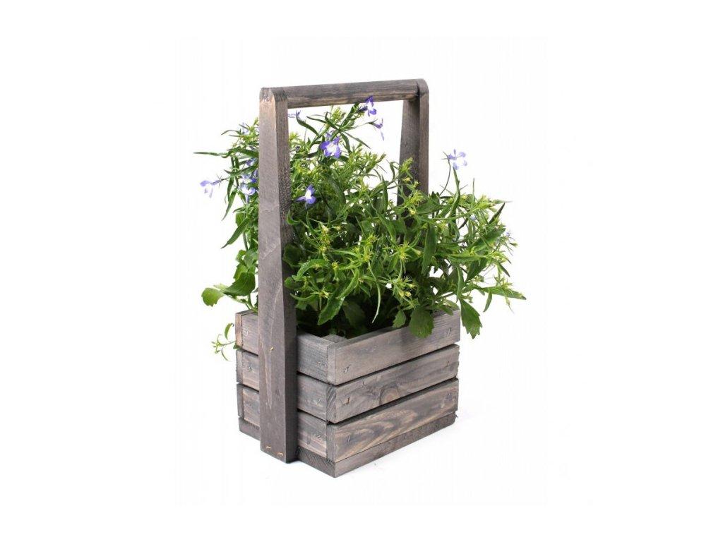 Malý dřevěný květináč s rukojetí
