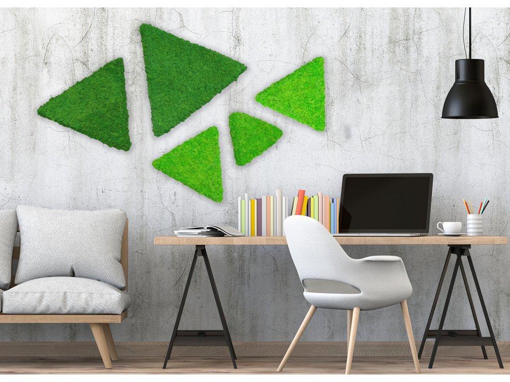 Sada mechových trojúhelníku ze sobího mechu v interiéru