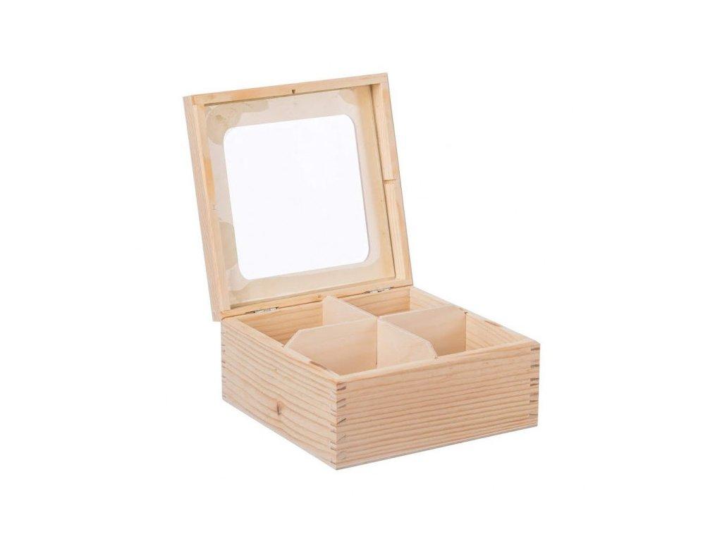 Krabička dřevěná s plexisklem 4 přihrádky