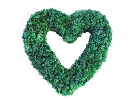 Srdce ze sobího mechu tmavě zelená