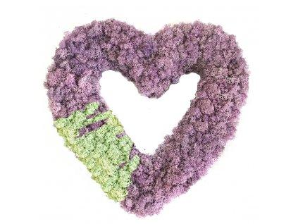 Srdce ze sobího mechu - fialová a mentolová