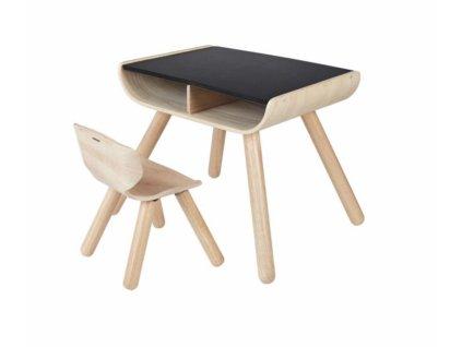 Dětský černý stolek se židlí