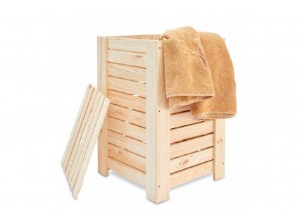 Dřevěný koš na prádlo přírodní