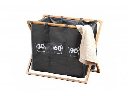 Koš na prádlo dělený s bambusovým stojanem