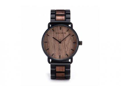 Tmavé dřevěné hodinky Bobo Bird