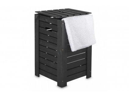 Dřevěný koš na prádlo černý