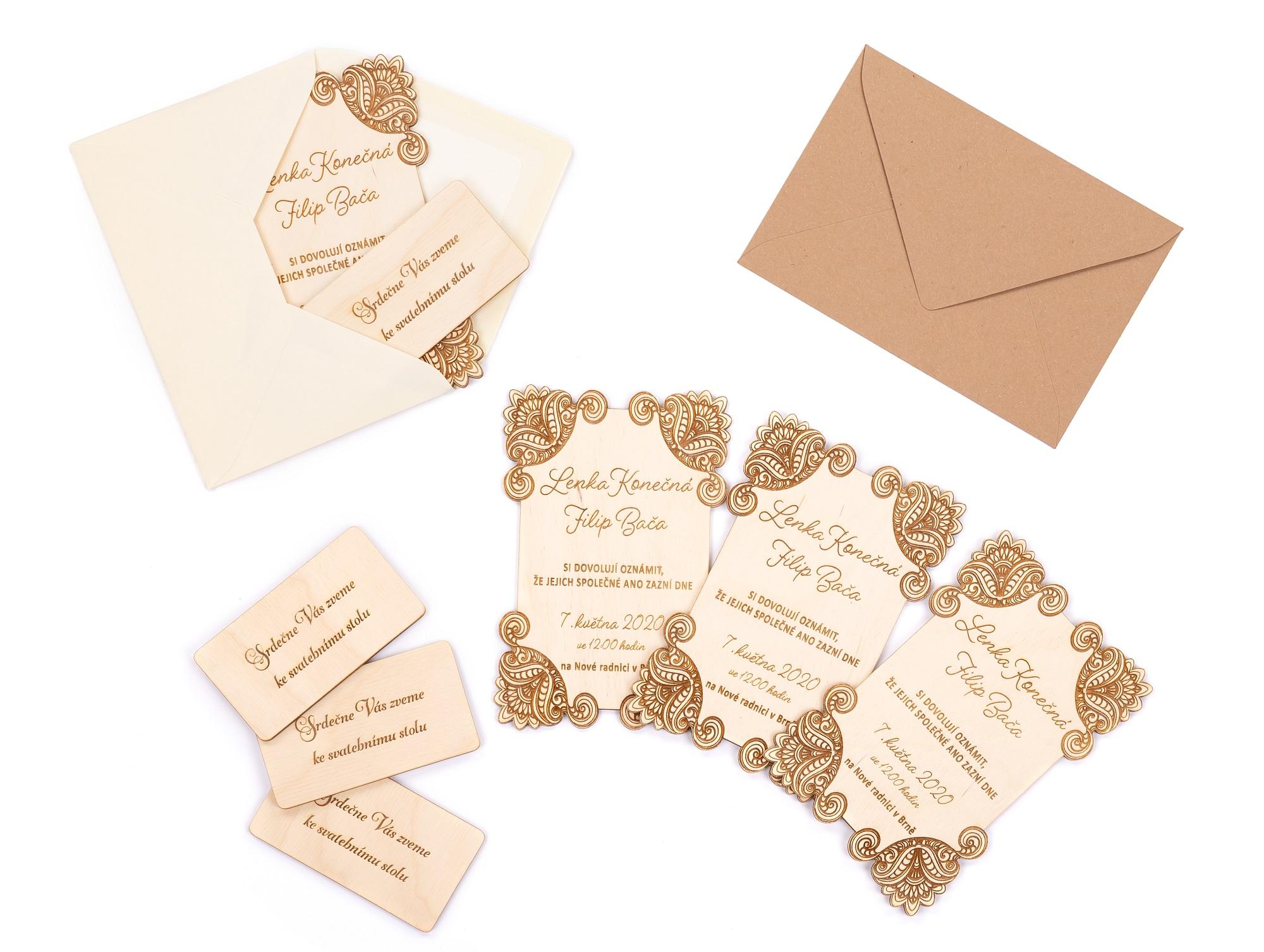 Dřevěné svatební oznámení AZDA kom