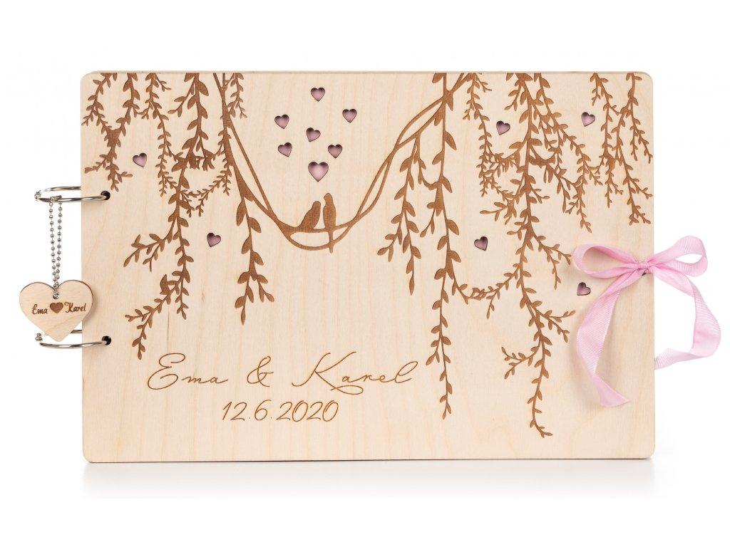 Dřevěná svatební kniha hostů HRDLIČKY