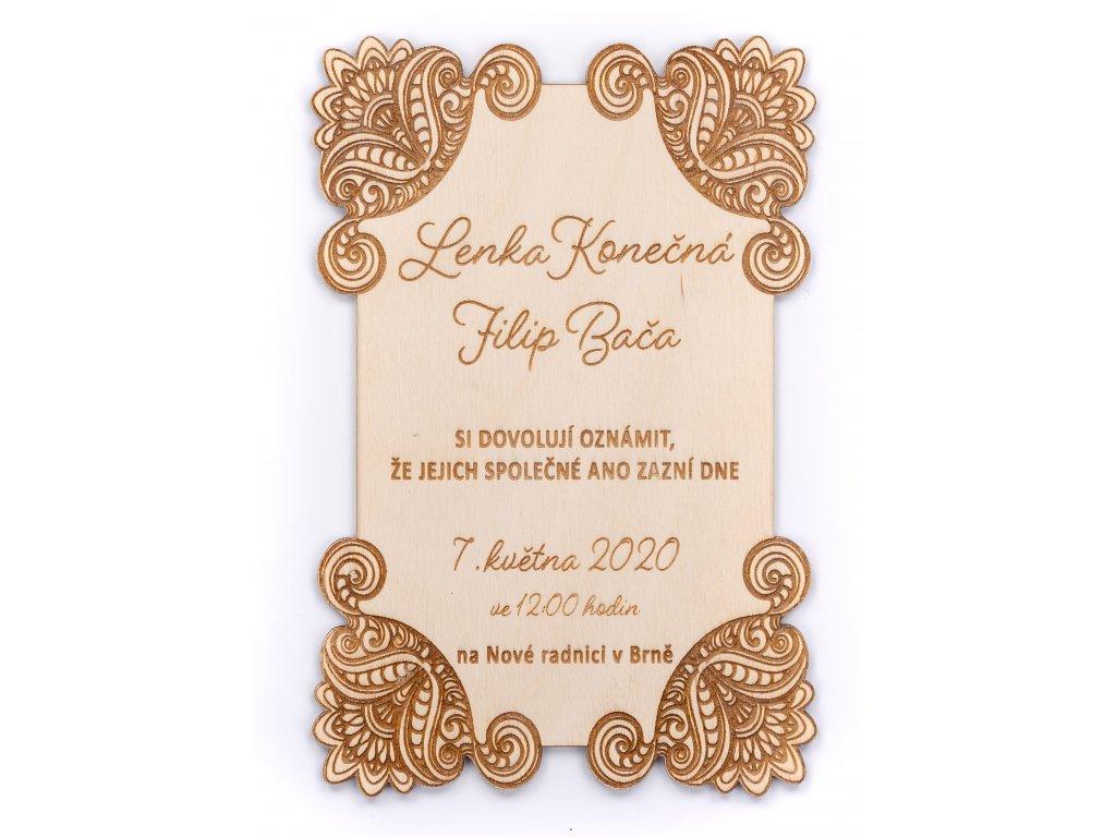 Dřevěné svatební oznámení AZDA