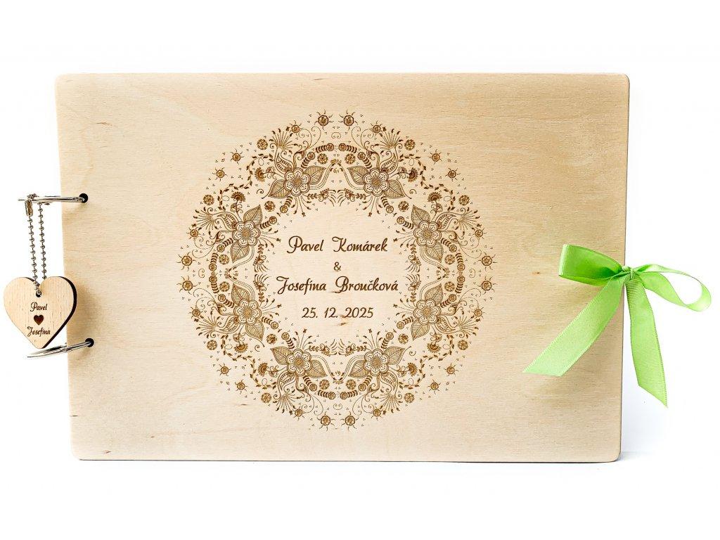 Dřevěná svatební kniha hostů MANDALA