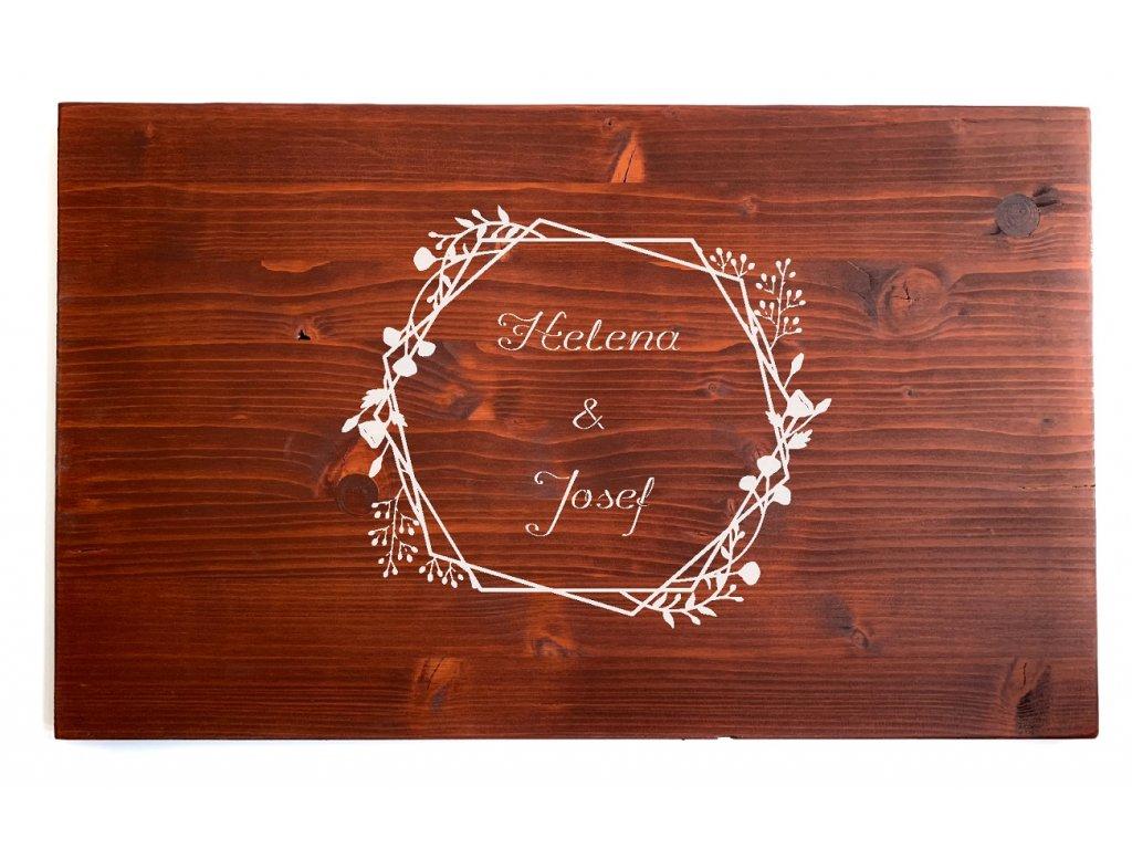 Dřevěná cedule na podpisy MOTIV mahagon