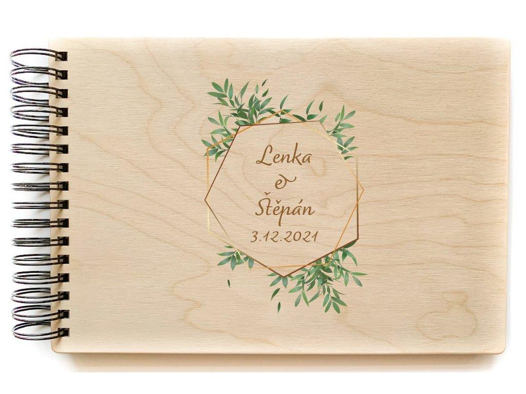 Dřevěné fotoalbum ŠESTIHRAN LISTY NATURE1new