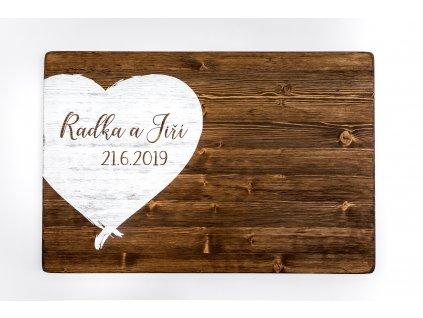 Cedule svatební - SRDCE HNĚDÉ