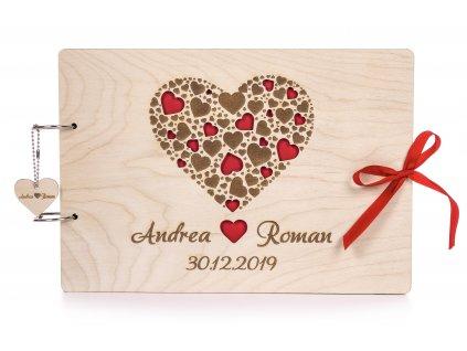 Dřevěná svatební kniha hostů SRDCE
