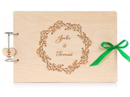Dřevěné svatební Fotoalbum BOHO