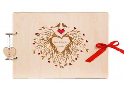 Dřevěné svatební fotoalbum Láska