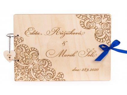 Dřevěná svatební kniha hostů KALA