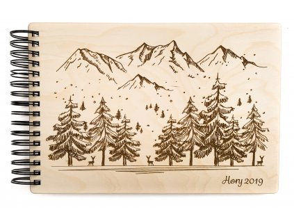 Dřevěné fotoalbum Hory
