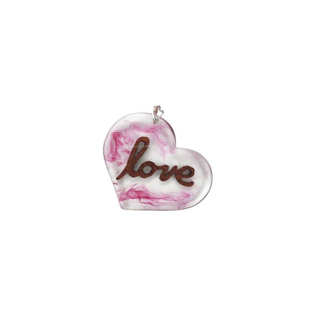 Dřevěný přívěšek na krk Love, růžový