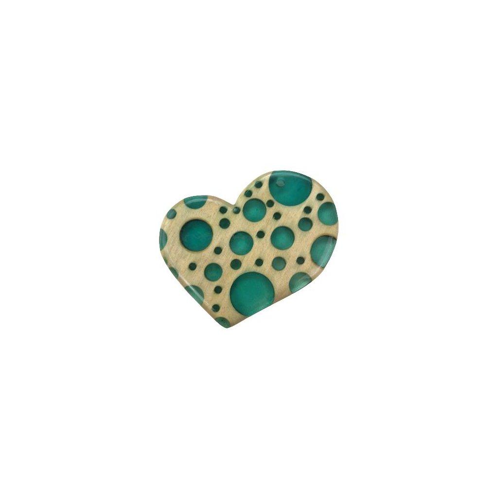 Dřevěný přívěšek na krk Heart, zelený