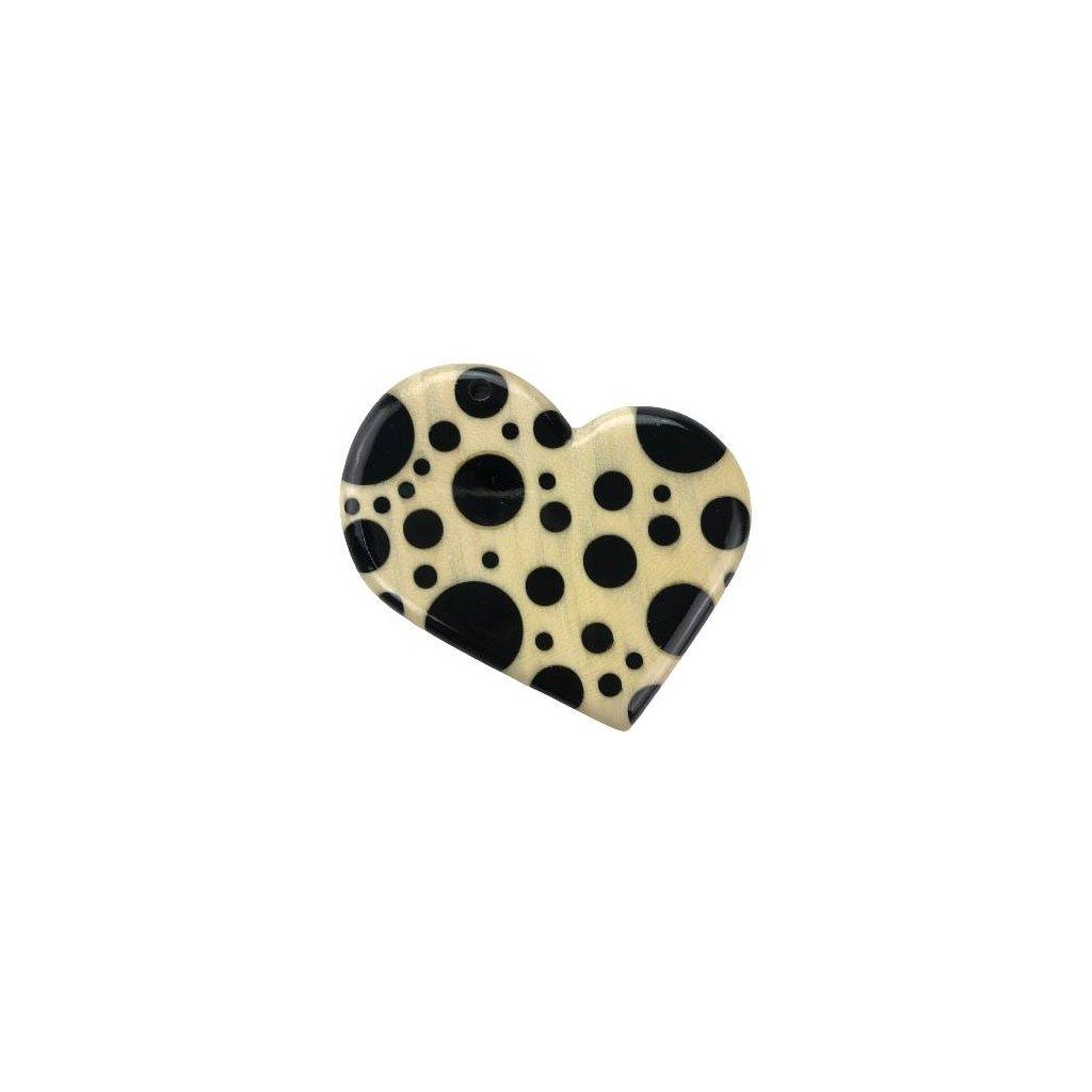 Dřevěný přívěšek na krk Heart, černý