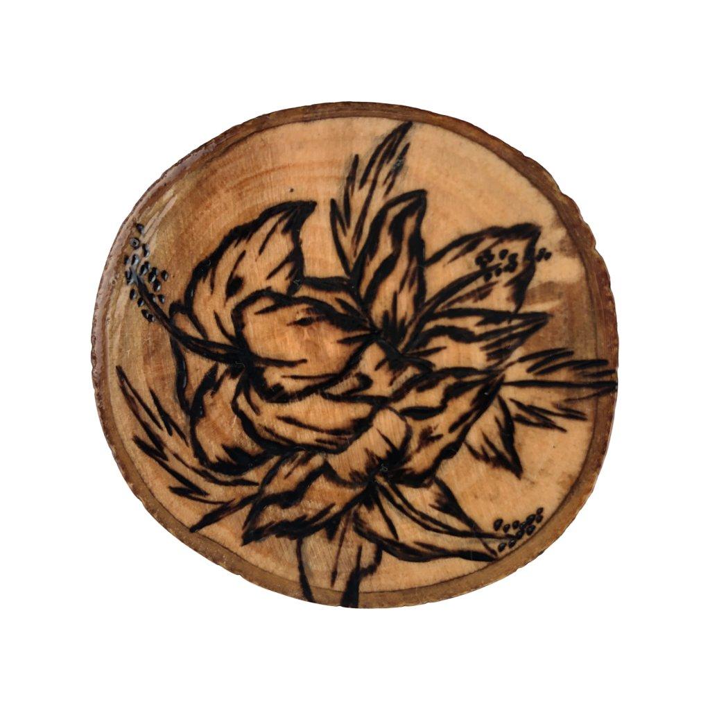 Dřevěná brož Ibišek